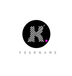 k letter logo design with white lines and black vector image