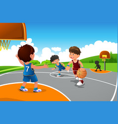 Kids playing basketball in a playground vector