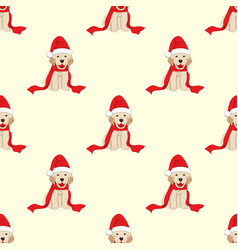 Labrador retriever with santa hat seamless on vector