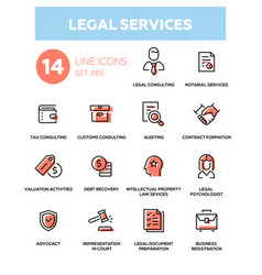 Legal services - line design icons set vector