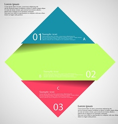Light inforgraphic with rhombus divided to three vector