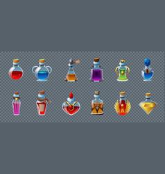 Magic potion transparent set vector