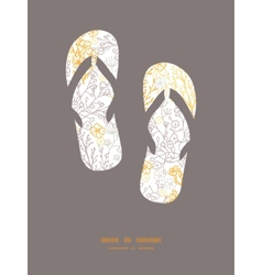 Magical floral flip flops silhouettes vector