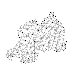 map of rwanda from polygonal black lines and dots vector image
