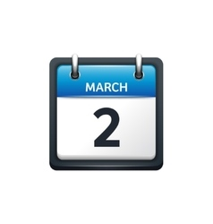 March 2 Calendar icon flat vector image