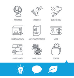 Microwave oven hair dryer and blender icons vector