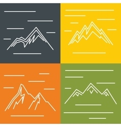 Mountain flat icons with sun on color background vector