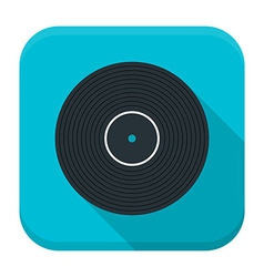 Music vinyl flat app icon with long shadow vector image