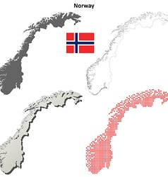 Norway outline map set vector