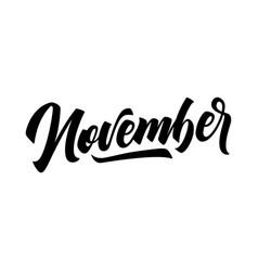 november handwritten lettering months year vector image