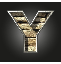 Old stone letter y vector