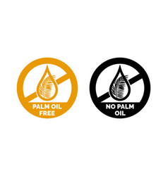 Palm oil free no palm oil logo label icon vector