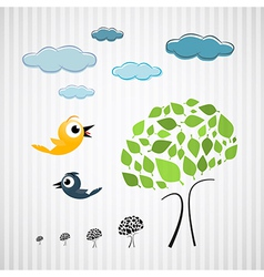 Paper Trees Birds and Clouds on Cardboard vector image