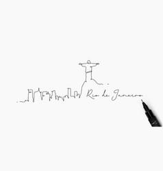 Pen line silhouette rio de janeiro vector