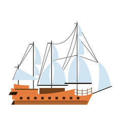 Pirate ship boat side view isolated cartoon vector