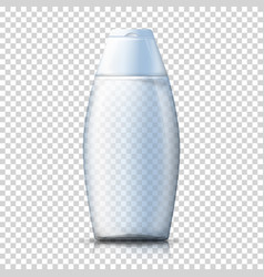 Realistic transparent plastic shampoo bottle vector