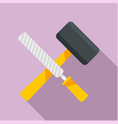 reconstruction hammer tools icon flat style vector image