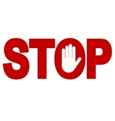 red stop inscription vector image