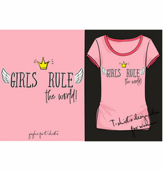 Retro rocknroll style girls rule world vector