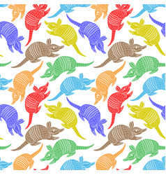 Seamless pattern with colored armadillos vector