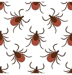 Seamless pattern with Tick Mite hand-drawn Tick vector