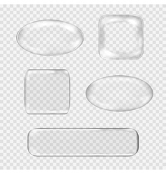 set transparent glass buttons white vector image