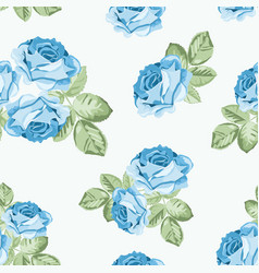 Shabchic blue rose seamless pattern on white vector