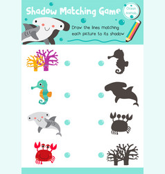 Shadow matching game ocean animal vector