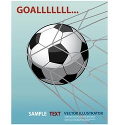 Soccer ball in goal net on blue background vector