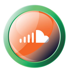 soundcloud sign with green frame icon on a white vector image