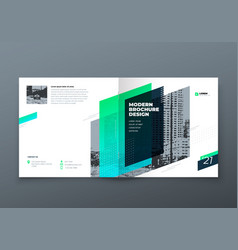 Square brochure design teal corporate business vector