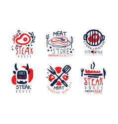 steak house labels collection meat store premium vector image