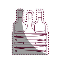sticker line different wine bottles icon vector image