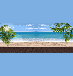 summer sea and palm leaves background vector image