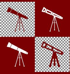 Telescope simple sign bordo and white vector