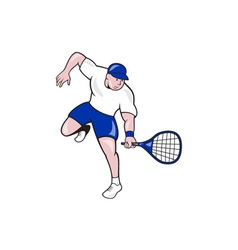 Tennis Player Racquet Cartoon vector