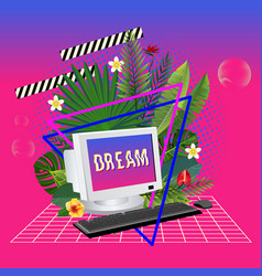 Vaporwave statue with computer and leaves 3d vector
