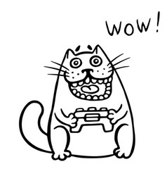 Video gamer cat plays on the console isolated vector