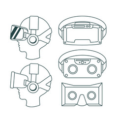virtual reality technology set icons vector image