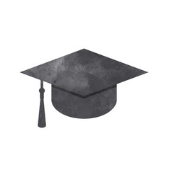 watercolor graduation cap on white vector image