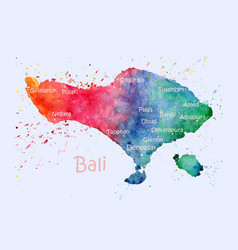 Watercolor map bali with cities stylized image vector