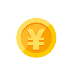 Yen symbol on gold coin flat style vector