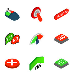 Yes and no button icons isometric 3d style vector