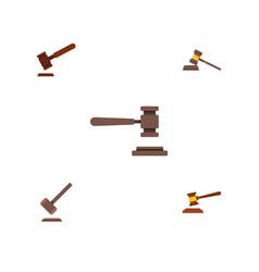 flat icon lawyer set of court tribunal hammer vector image vector image