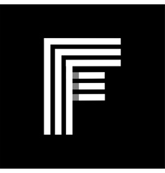 Capital letter F Made of three white stripes vector image