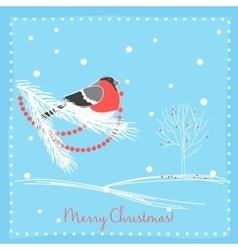 Christmas bullfinch bird on the branch tree vector image