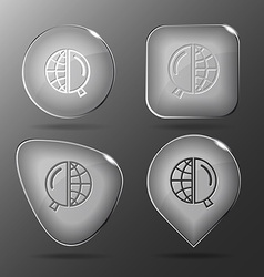 Globe and magnifying glass Glass buttons vector image vector image