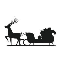 santa claus sledge silhouette vector image