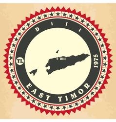 Vintage label-sticker cards of East Timor vector image