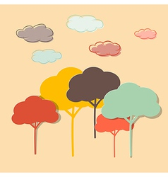 Retro Paper Colorful Trees and Clouds vector image vector image
